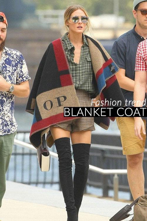 Blanket coat, la moda del cappotto poncho coperta