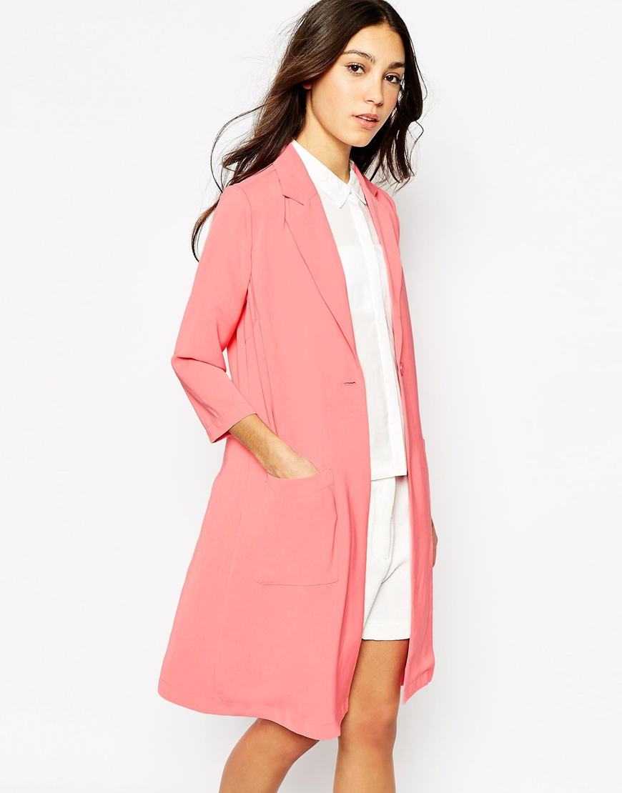 Trench lungo rosa