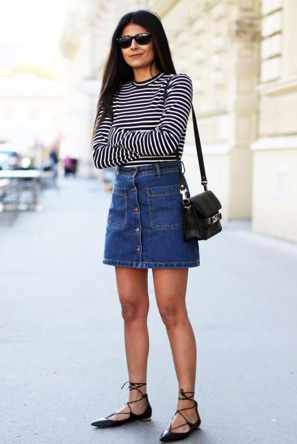 denim skirt bottoni outfit 2015
