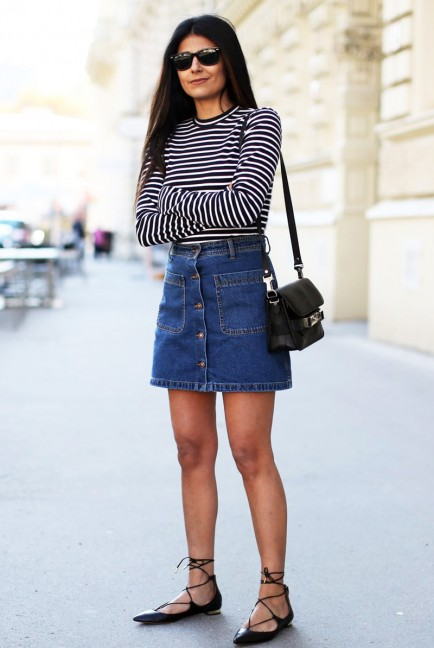 denim skirt bottoni outfit 2015