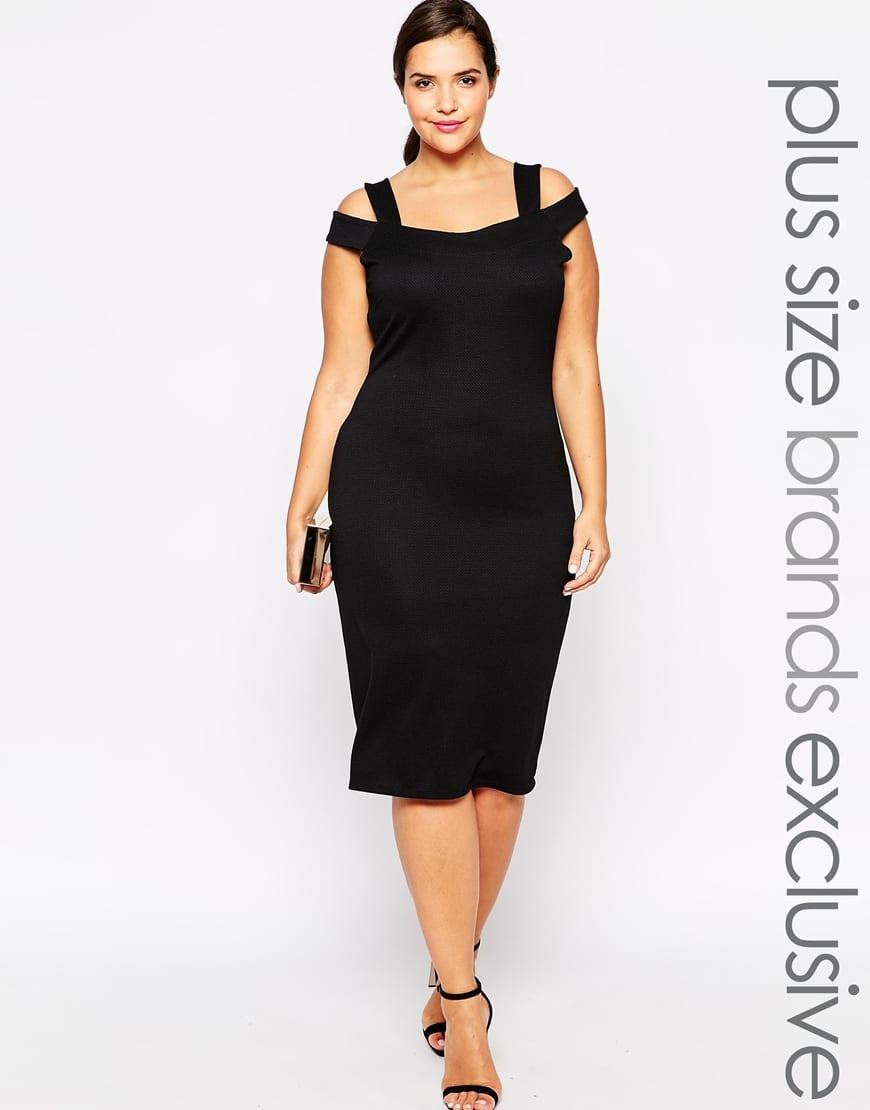 Vestito aderente stile Bardot, con spalle scoperte e tessuto elasticizzato