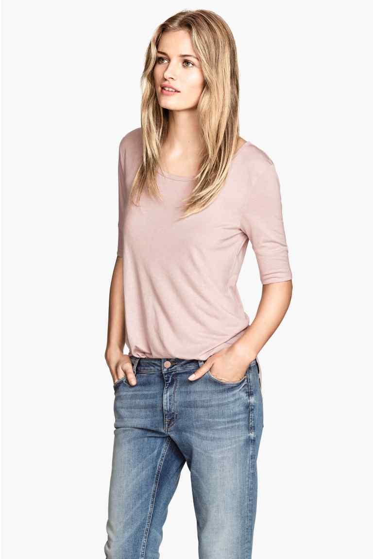 T-shirt lunga in jersey, color rosa cipria. prezzo 7,99€