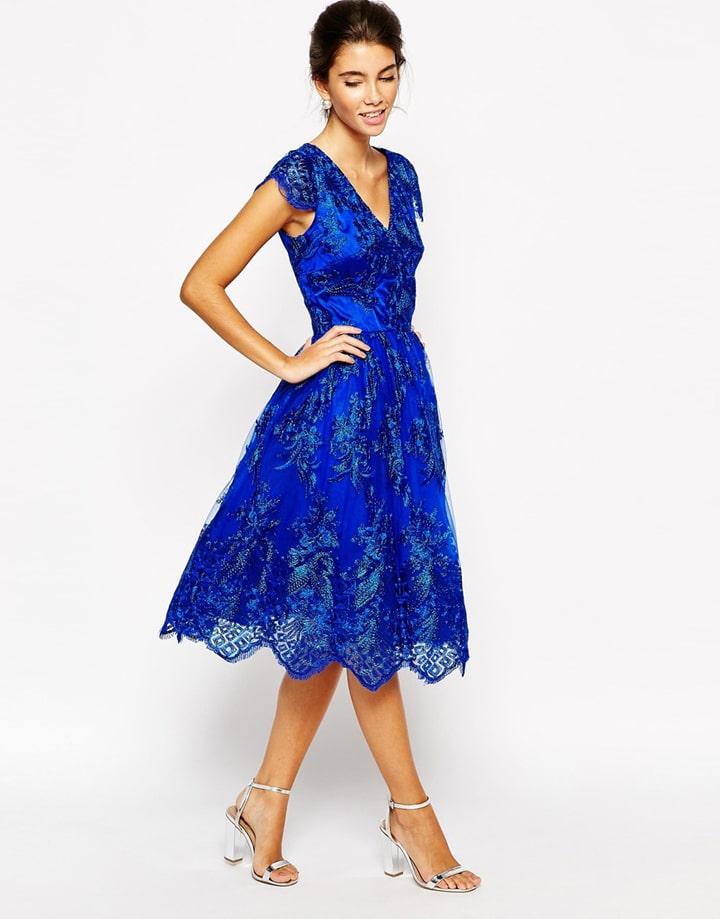 Outfit vestito lungo blu