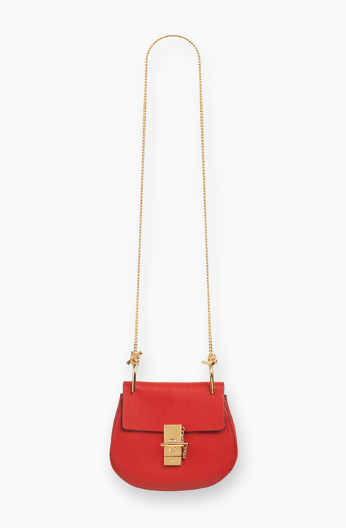DREW MINI BAG IN GRAINED LEATHER plaid red