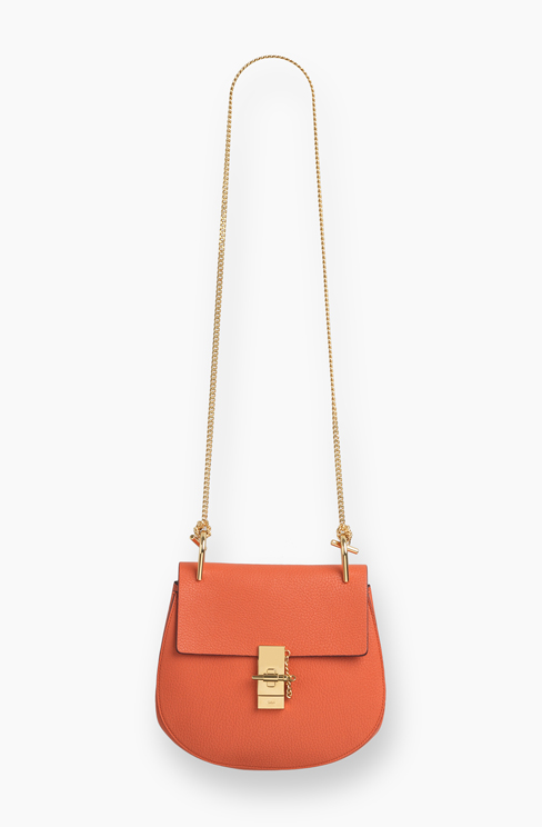 DREW SMALL BAG IN GRAINED LEATHER coral pop