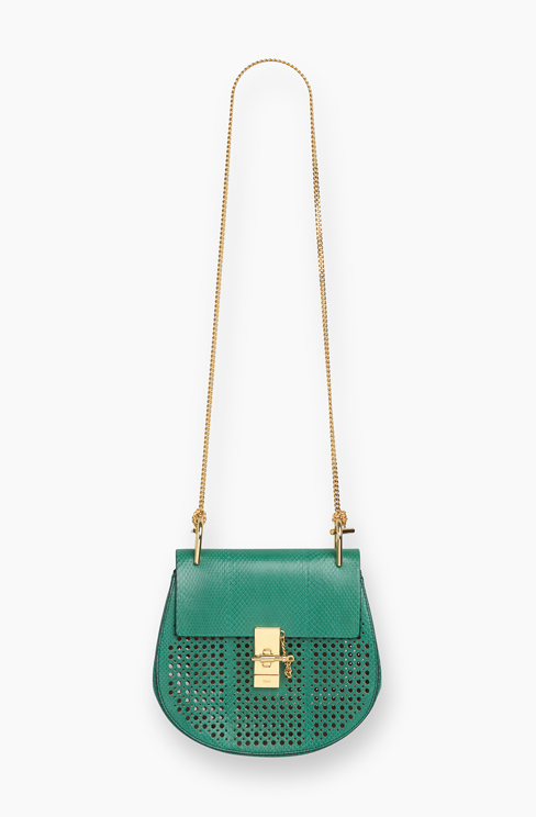DREW SMALL BAG IN PERFORATED WATERSNAKE stone green