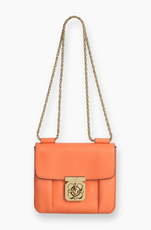 ELSIE SMALL BAG IN GRAINED LEATHER coral pop