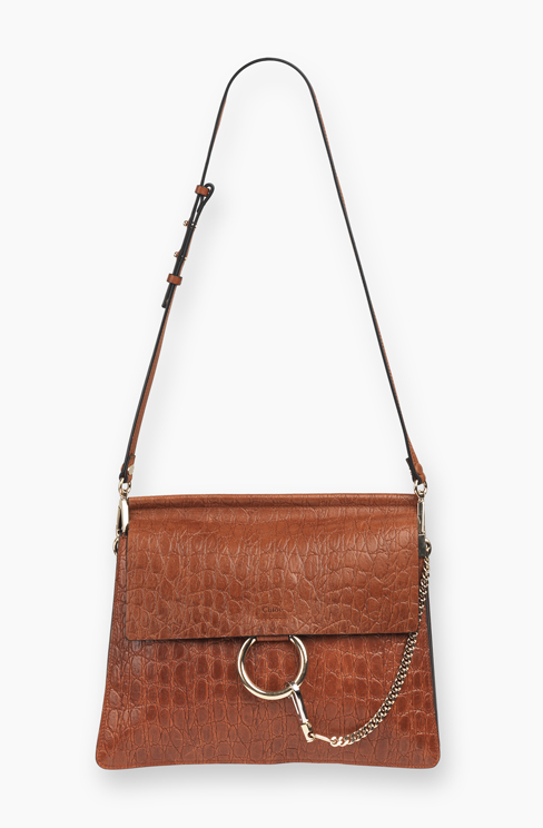 FAYE BAG IN CROC- EMBOSSED VEGETAL mahoganyCALFSKIN