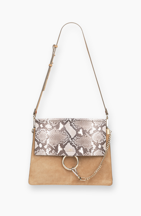 FAYE BAG IN SMOOTH CALFSKIN AND PATTERN PYTHON