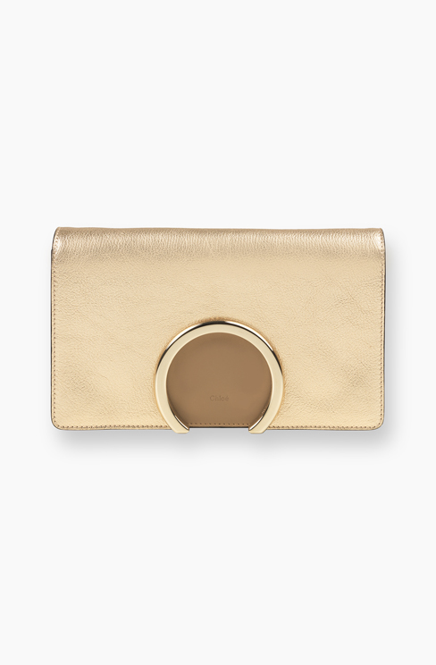 GABRIELLE CLUTCH IN METALLIC GOATSKIN LEATHE pale gold