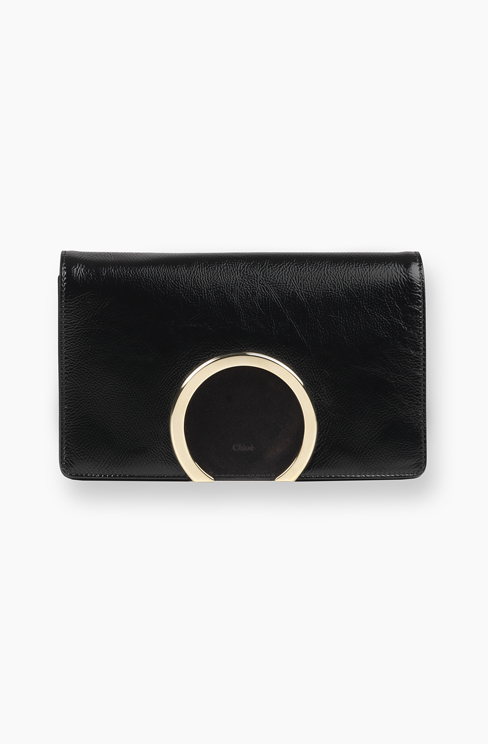 GABRIELLE CLUTCH IN NAPLACK CALFSKIN & SMOOTH CALFSKIN black