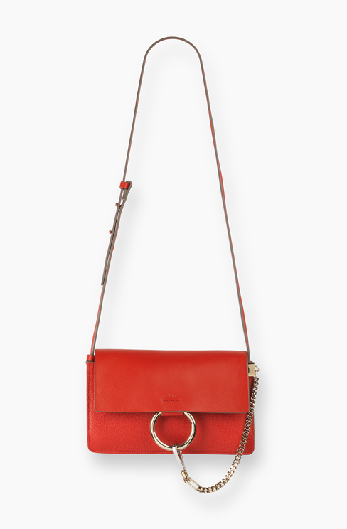 SMALL FAYE BAG IN GRAINED CALFSKIN & NAPPA LAMBSKIN paprika red