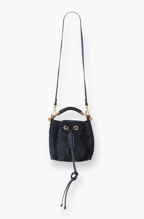 SMALL GALA BUCKET BAG IN LONG HAIRCALF (PONY) blue velvet