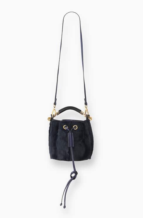 SMALL GALA BUCKET BAG IN LONG HAIRCALF (PONY) blue velvet