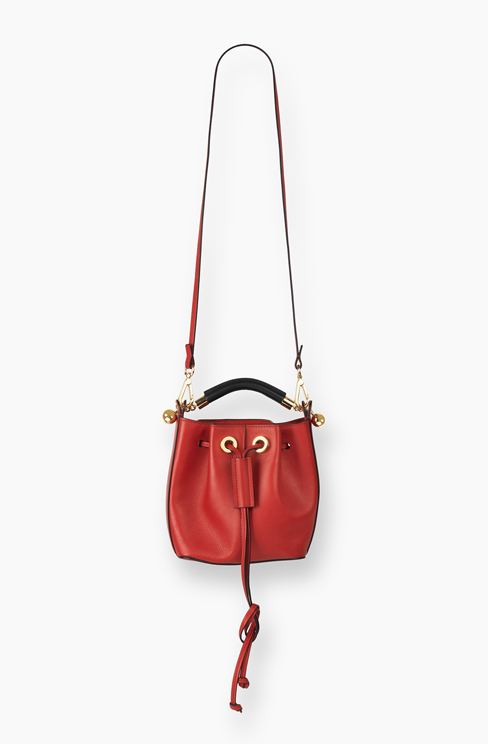 SMALL GALA BUCKET BAG IN SMOOTH CALFSKIN paprika red