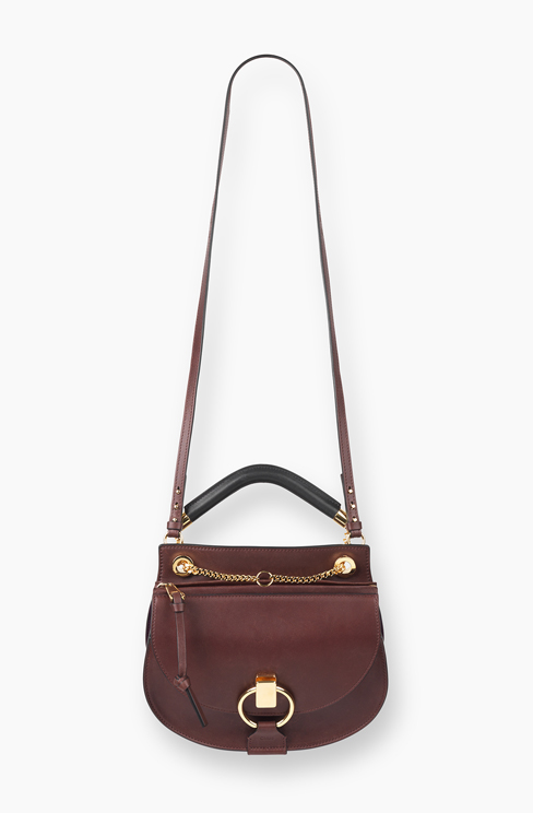 SMALL GOLDIE BAG IN SMOOTH CALFSKIN & SUEDE CALFSKIN dark velvet