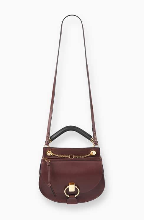 SMALL GOLDIE BAG IN SMOOTH CALFSKIN & SUEDE CALFSKIN dark velvet