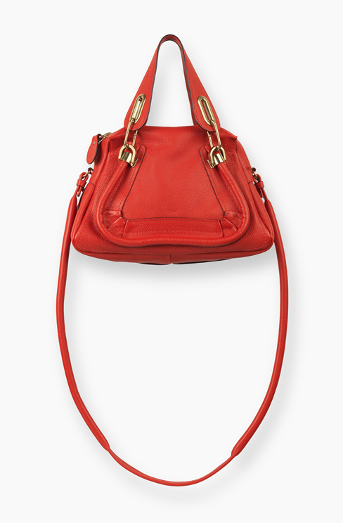 SMALL PARATY BAG IN GRAINED CALFSKIN paprika red