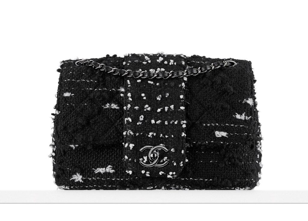 flap bag in tweed e pailettes