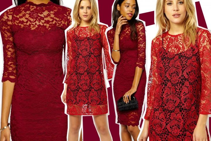Shopping in saldo: abiti in pizzo rosso