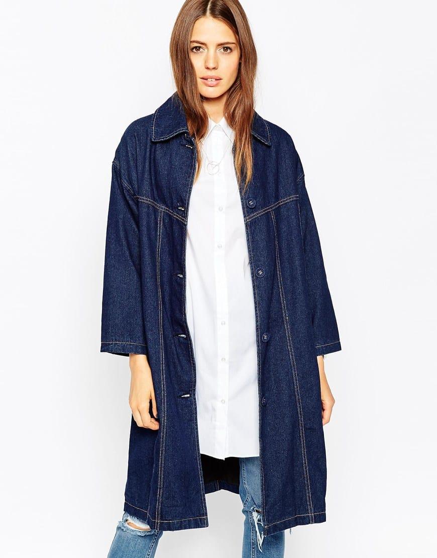 15_Giacca di jeans Asos, in denim foderato di media pesantezza, Cuciture a contrasto color tabacco (76,99 € su Asos)