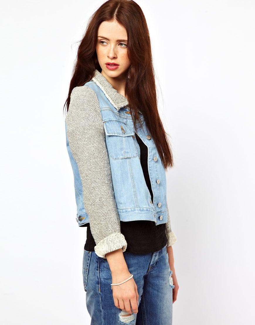 30_Giacca di jeans Zoe, in denim di misto cotone; colletto e maniche a contrasto (337,99 € su Asos)