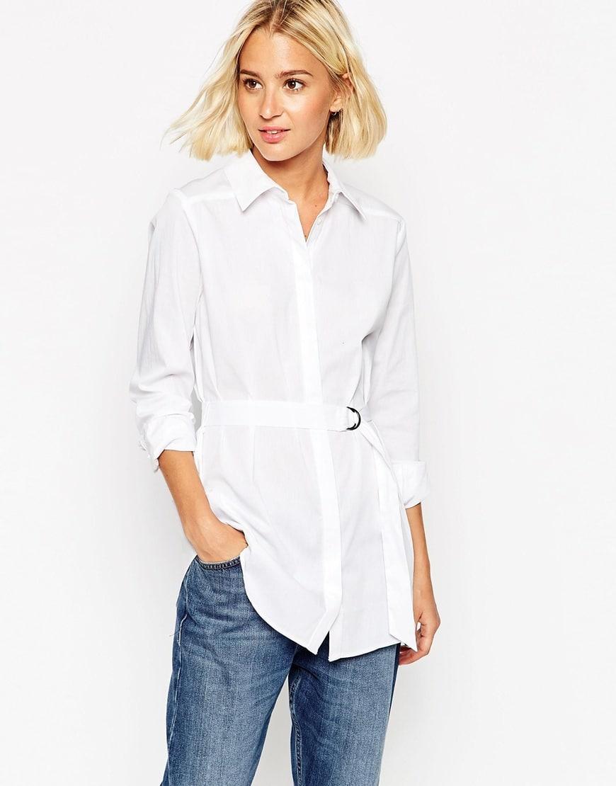 65_Camicia bianca Asos, con cintura, colletto a punta e chiusura a bottoni (44,99 € su Asos)