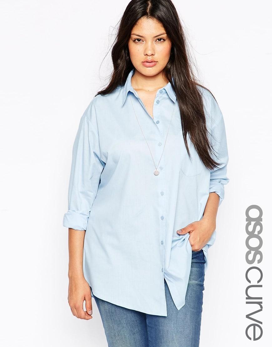 72_Camicia Asos Curve, blue, con colletto a punta e stile boyfriend (38,99 € su Asos)