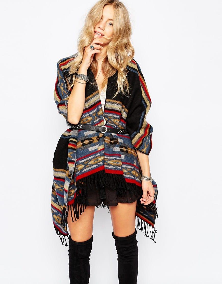 Poncho oversize avvolgente e double-face in lana