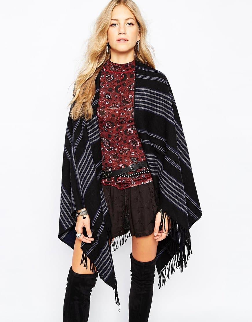 Poncho oversize avvolgente a righe double-face in lana
