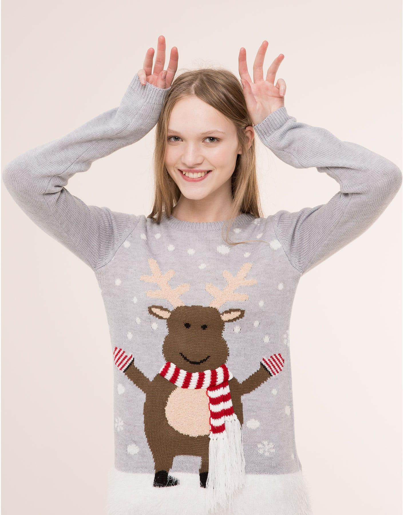 Maglione natalizio grigio con renna