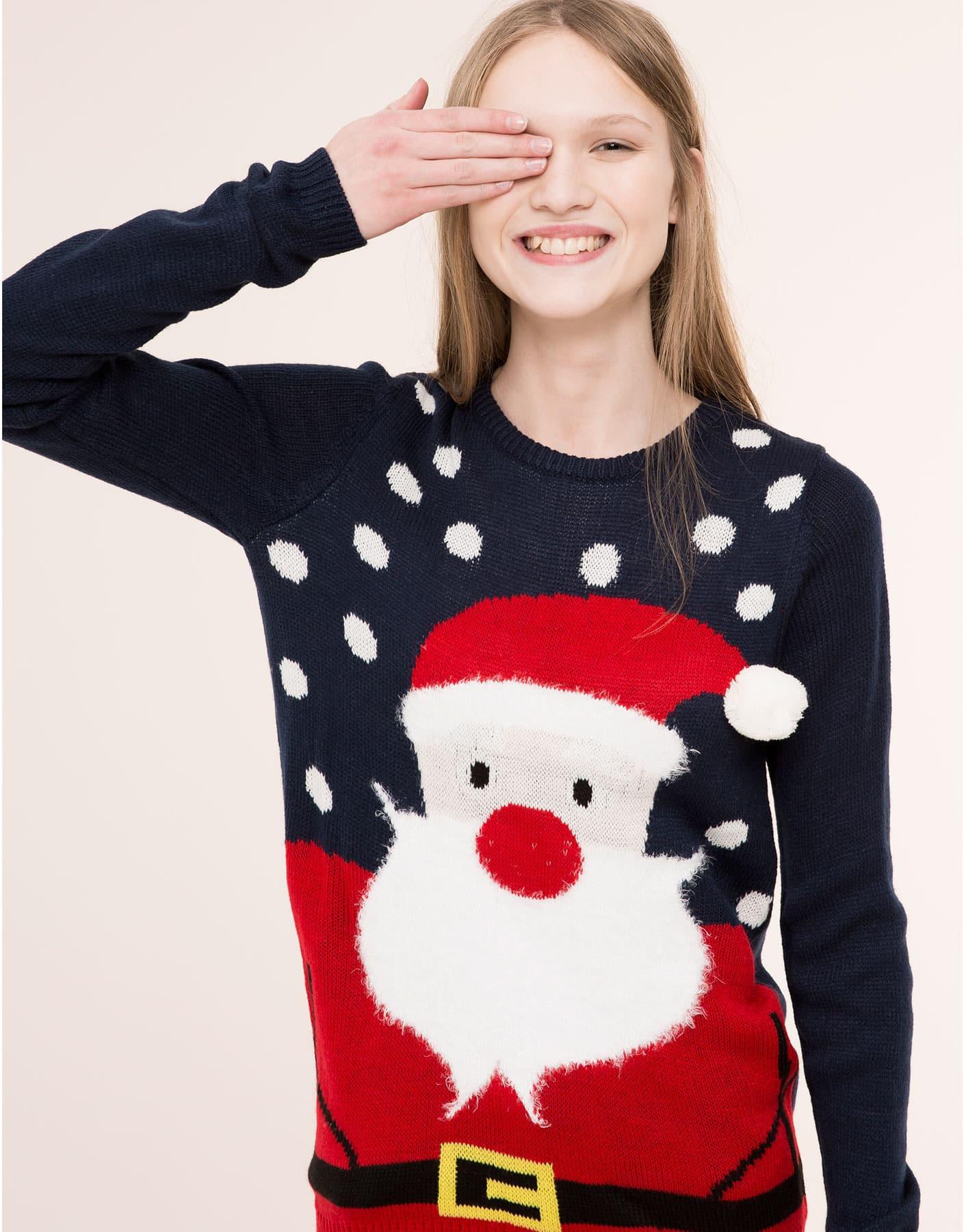 Maglione natalizio grigio con Babbo Natale