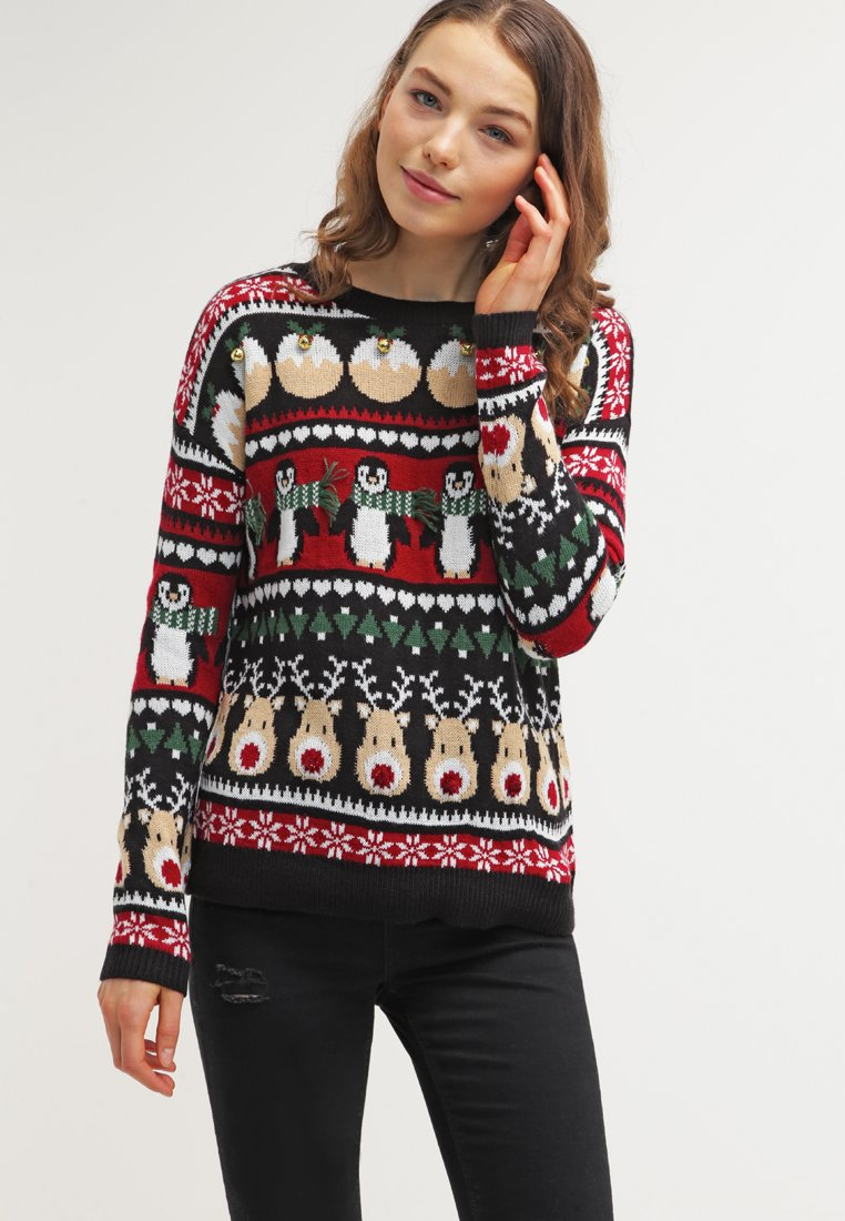 Maglione natalizio blu ricami vari