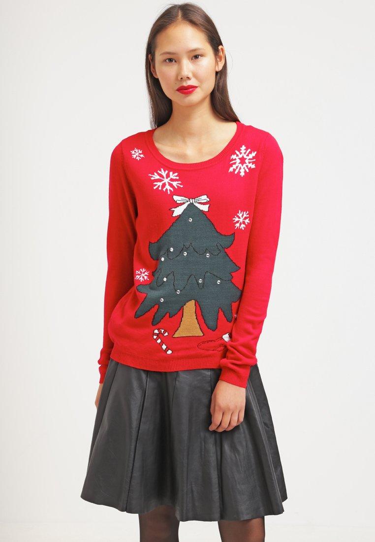 Maglione natalizio rosso con disegno albero di Natale