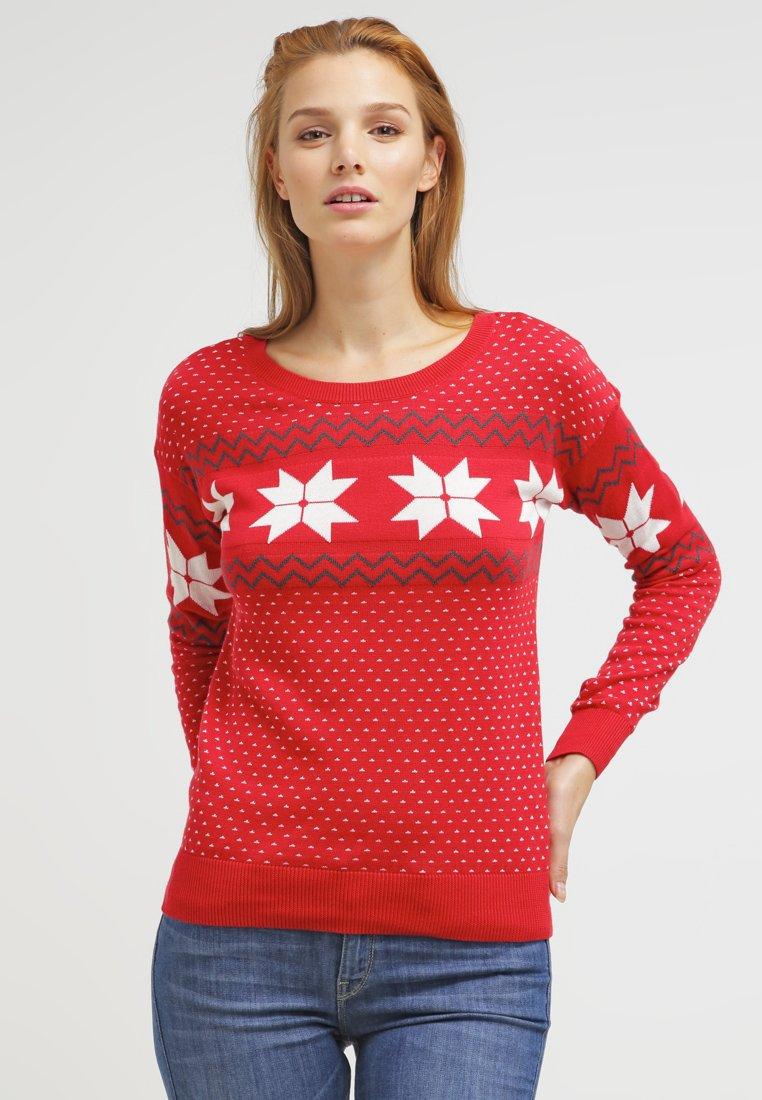 Maglione natalizio rosso con stelle di Natale