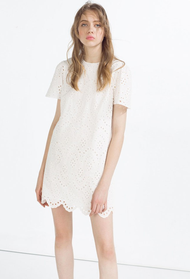 – Abiti Pizzo Corti Vestito Bianco Zara thrsQdCx