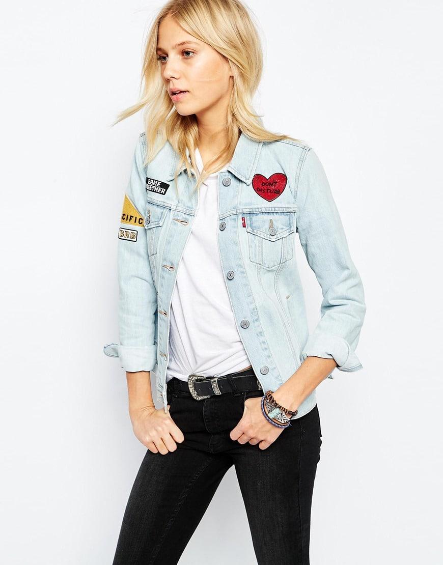 giubbino jeans con toppe