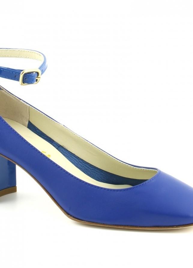 Dècolléte con tacco di 6 cm e cinturino similar in blu