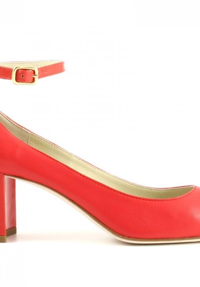 Dècolléte con tacco di 6 cm e cinturino similar in rosso