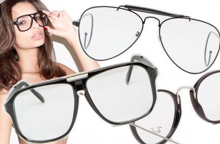 occhiali da nerd con lenti trasparenti