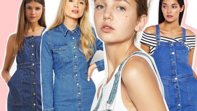 Summer trend: vestiti salopette in denim con i bottoni