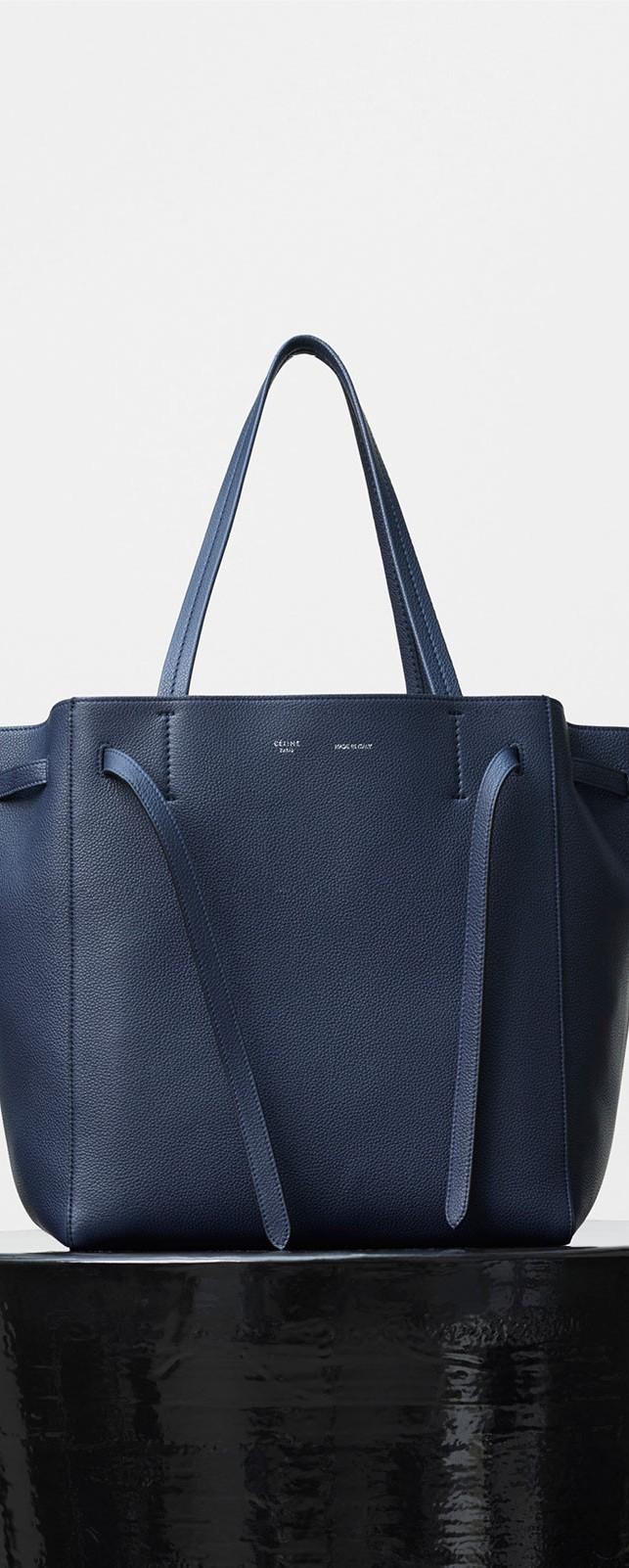 celine borsa in pelle blu e bianca