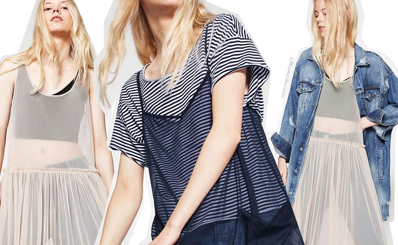 Trend preview: abito in tulle trasparente sopra i jeans