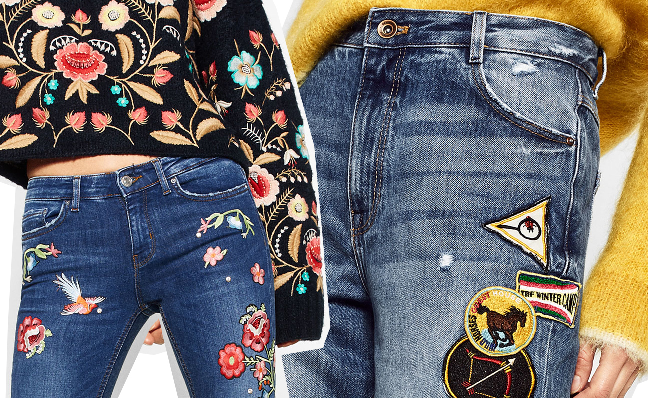 Jeans con decorazioni, patch, toppe e ricami