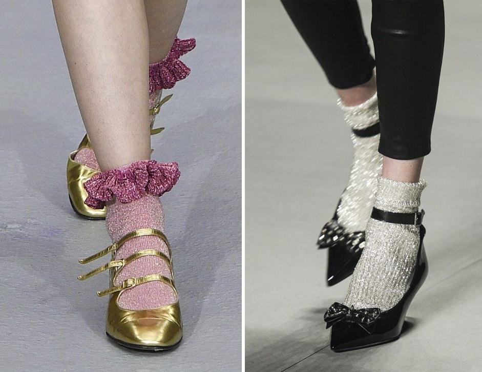 calzini di moda glitter