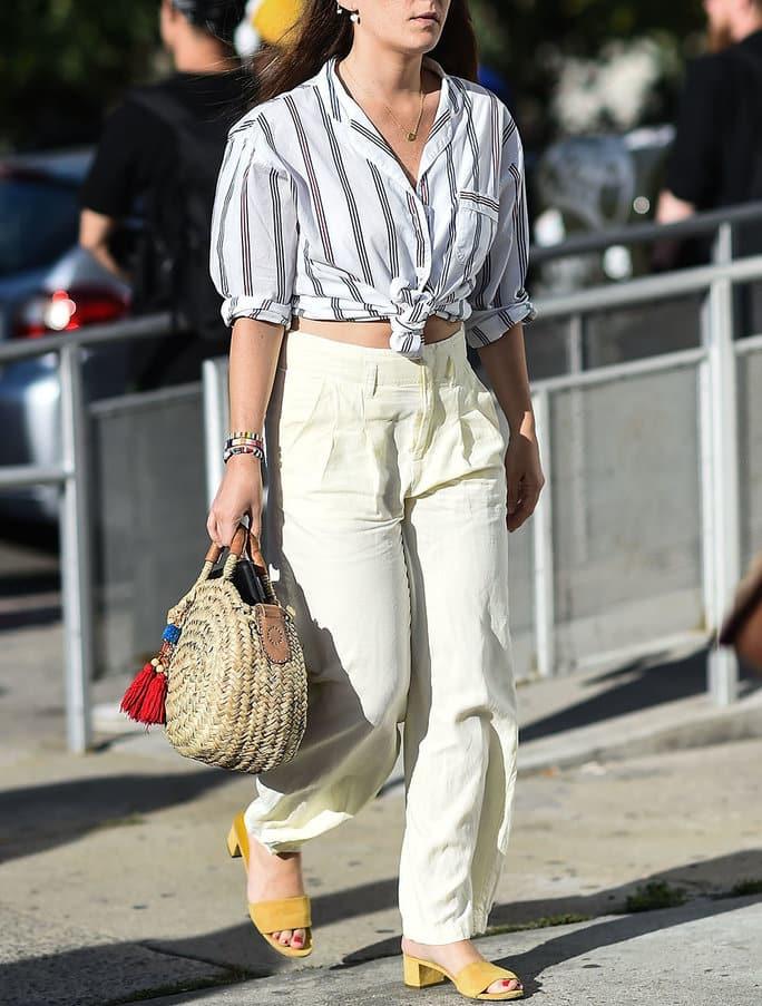 borsa di paglia abbinamenti outfit