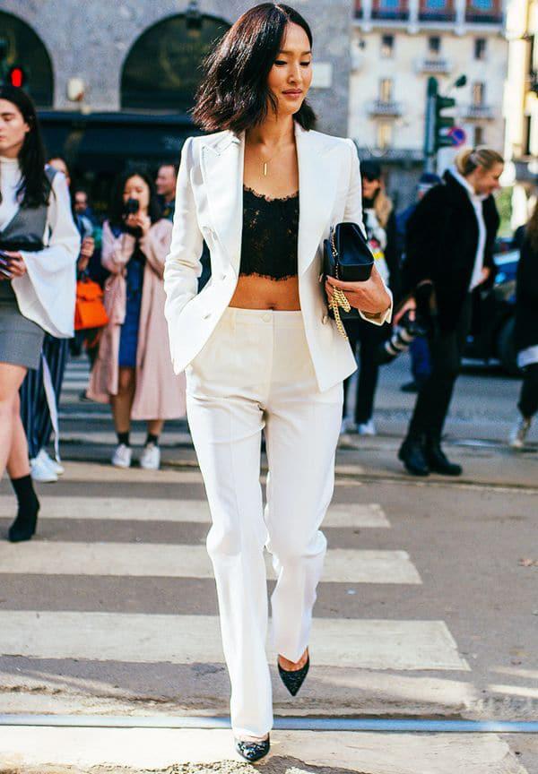 Crop top e completo giacca-pantalone
