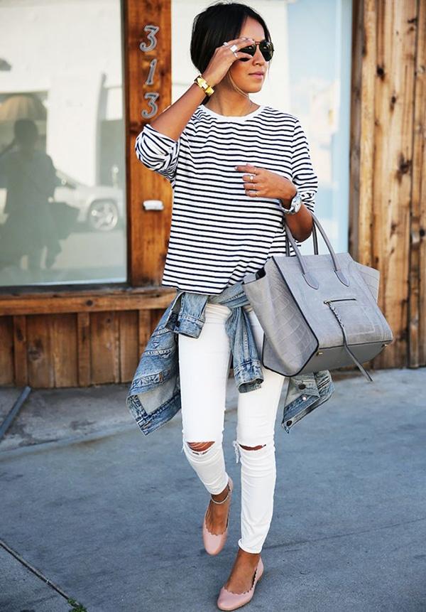 Jeans strappati e ballerine
