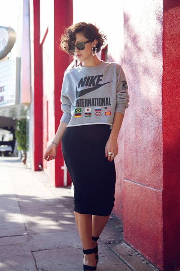 Felpa e pencil skirt