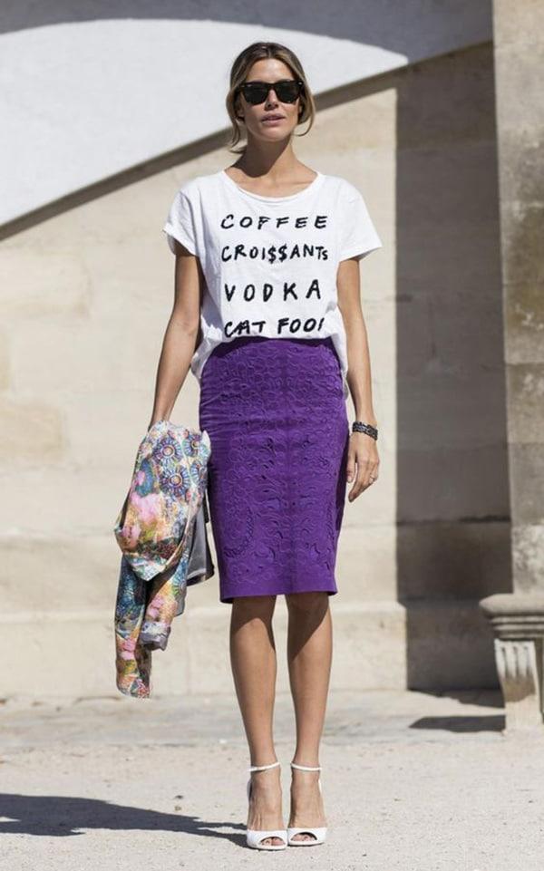 Magliette con le scritte e pencil skirt